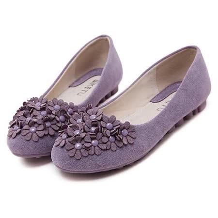 【Maya easy】人氣質感花漾甜心圓頭平底豆豆鞋/ 平底鞋 (紫色)