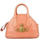 Vivienne Westwood 鱷魚皮紋壓紋LOGO手提保齡球包(粉紅橘)_福利品