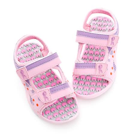 Roberta諾貝達 超輕量舒適雙黏扣帶運動休閒涼鞋 613717-粉