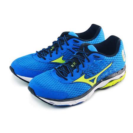 (男)MIZUNO美津濃 WAVE INSPIRE 11 慢跑鞋 藍/螢光綠-J1GC154440