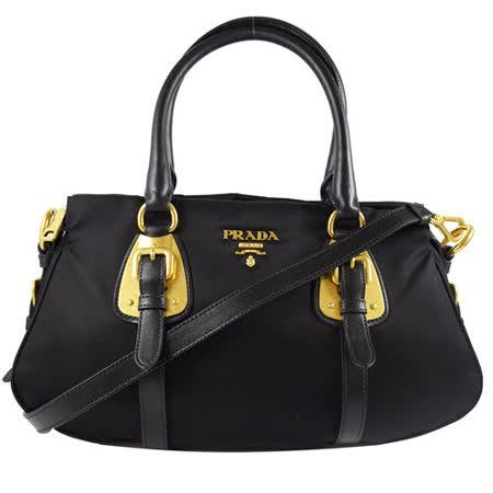 PRADA 經典浮雕LOGO尼龍皮飾邊手提兩用包.黑