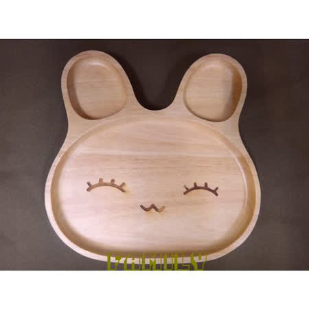 日式居家 自然木 木質餐具 - 微笑兔餐盤