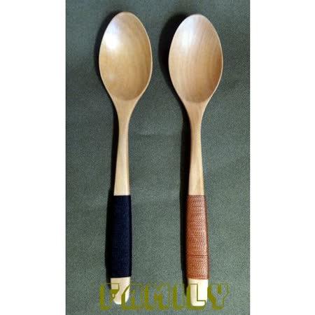 日式居家 天然木 木質餐具 - 荷木綁線湯匙 單支 - 黑色 / 駝色