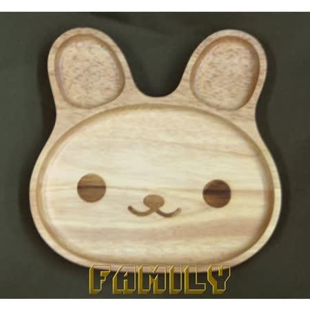 日式居家 自然木 木質餐具 - 休閒兔子餐盤