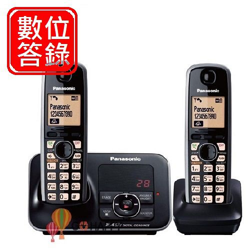Panasonic 2.4GHz國際牌高頻數位答錄大字體無線電話 KX-TG3721+TGA371*1 / KX TG3722 (耀岩黑)