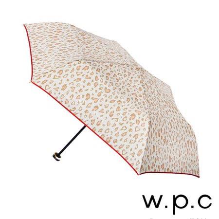 【w.p.c】心型豹紋*晴雨兩用輕量防風手開三摺傘(米白)