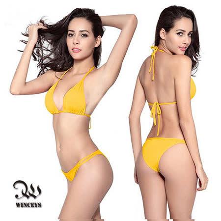 WINCEYS 性感綁帶比基尼泳裝-黃