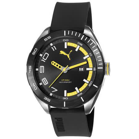 PUMA  時間炸裂大錶徑休閒腕錶-黃
