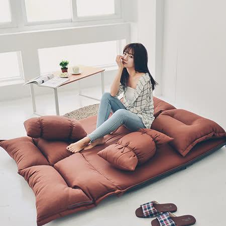 《Peachy life》日系簡約舒適沙發床/折疊床(附糖果抱枕x2)