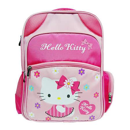 【HELLO KITTY-凱蒂貓】愛心花花護脊後背書包(淡粉)
