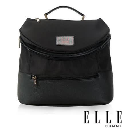 ELLE HOMME 法式精品 可置入IPAD 頭層皮 立體圓筒大容量側背包-黑 EL82350-02