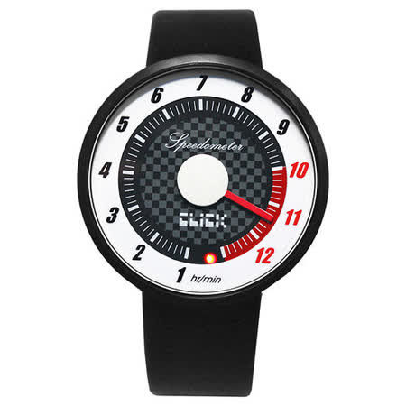 CLICK 飆速儀表個性皮帶錶-黑框白