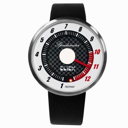 CLICK 飆速儀表個性皮帶錶-銀框白