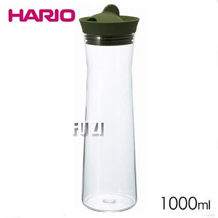 【HARIO】日本製 玻璃熱冷水壺 1000ml-綠色