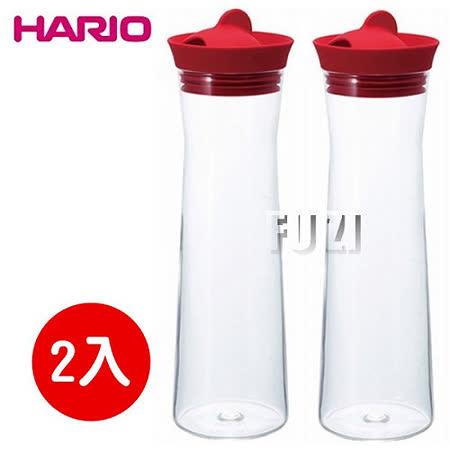 【HARIO】日本製 玻璃熱冷水壺 1000ml-紅色-2入組