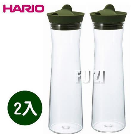 【HARIO】日本製 玻璃熱冷水壺 1000ml-綠色-2入組