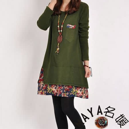 【Maya 名媛】(M~2XL)春秋薄款針織綿 假二件式 純色上身+碎花小裙擺 圓領長袖連衣裙-綠色