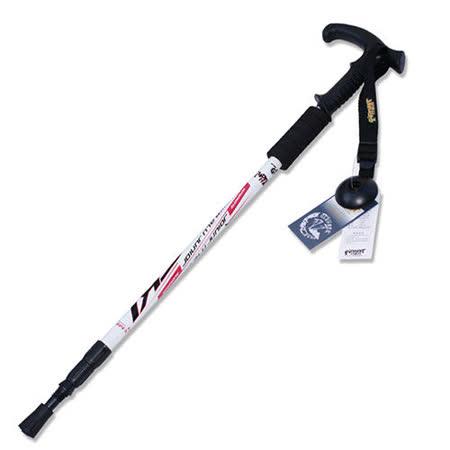 PUSH! 戶外休閒登山用品鋁合金鎢鋼杖尖三節調整式T型登山杖老人杖 一入 P70