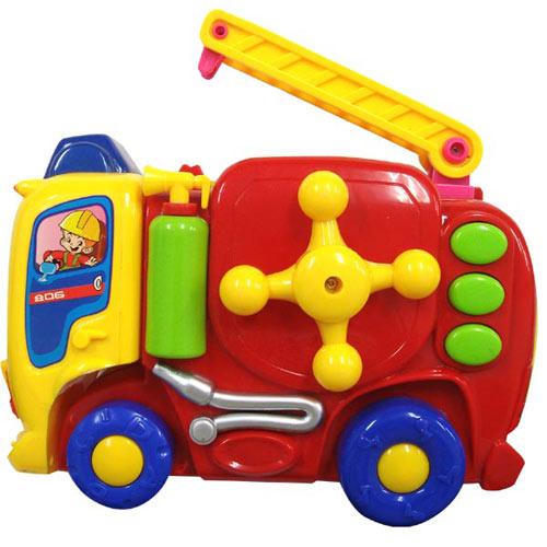 電動音樂積木消防車