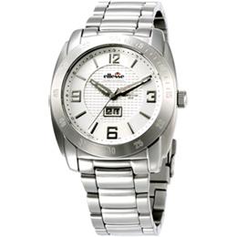 ellesse 立體格紋時尚機械錶(白)