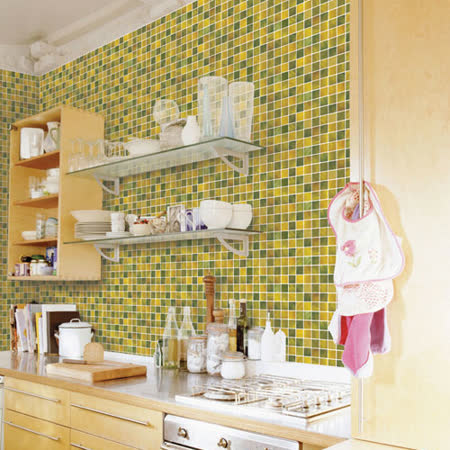 優質馬賽克自黏式壁紙-綠磚格