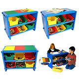 《寶貝家》多功能積木收納架(藍色) 送100顆小積木1包~台灣生產喔