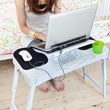 【LIFECODE】光世代-雙鼠墊折疊筆記型電腦桌-USB風扇(左撇子也適用)
