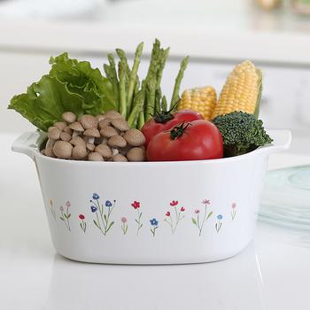 【美國康寧 Corningware】5L方型陶瓷康寧鍋-春漾花朵 (原裝進口)