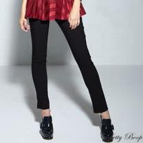 【Betty Boop貝蒂】後口袋刺繡小圖前口袋反折腰鬆緊長褲(藍色)