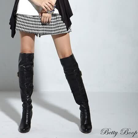 【Betty Boop貝蒂】腰鬆緊千鳥格褲裙(黑色)