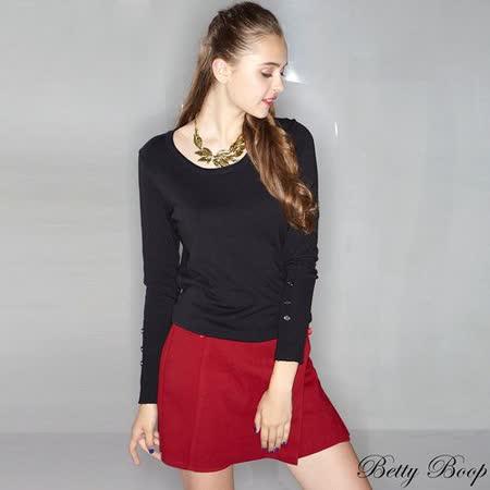 【Betty Boop貝蒂】裝飾拉鍊前開叉側拉鍊設計褲裙(共二色)