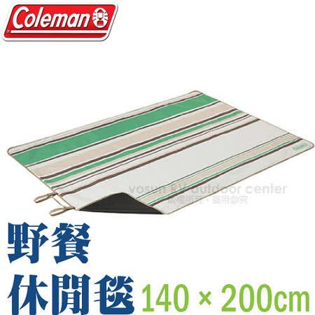 【美國Coleman】野餐休閒毯140×200cm.背面採用PVC加工處理不易潮濕 /CM-7088 綠
