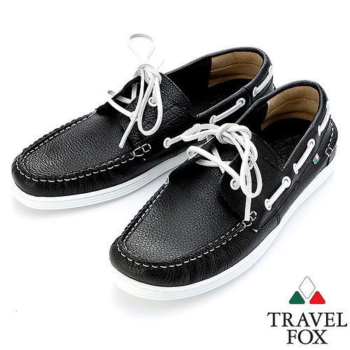 Travel Fox STYLE~荔紋牛皮帆船鞋914113^(黑~01^)