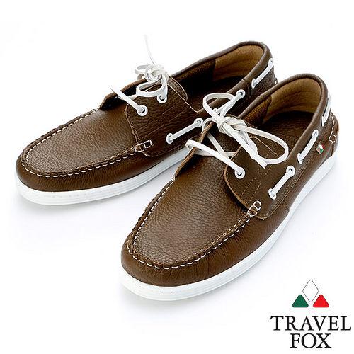Travel Fox STYLE~荔紋牛皮帆船鞋914113^(橄欖~22^)