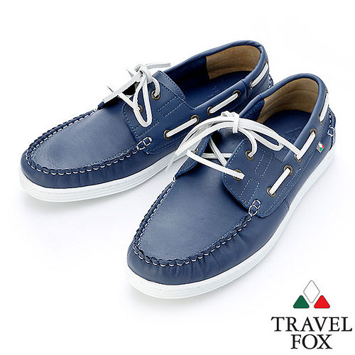 Travel Fox STYLE~牛皮皮紋帆船鞋914115^(藍~05^)