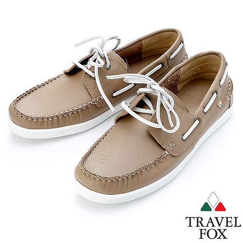 Travel Fox STYLE~牛皮皮紋帆船鞋914115^(沙~59^)
