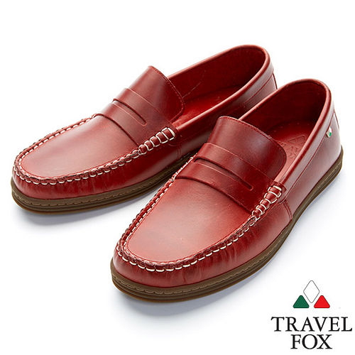 Travel Fox STYLE~EZ帆船鞋914607^(酒紅~04^)