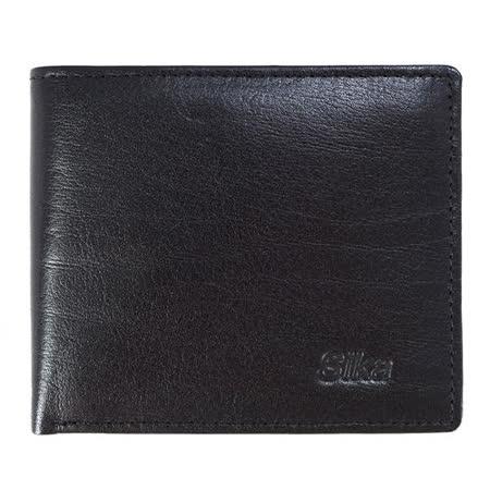 SIKA義大利素面牛皮中性短皮夾A8206-03質感黑