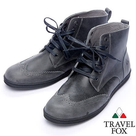 Travel Fox STYLE-牛津高筒靴914612(黑灰-01)