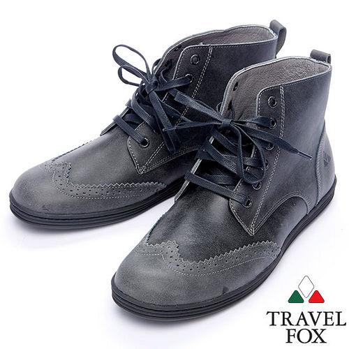 Travel Fox STYLE~牛津高筒靴914612^(黑灰~01^)