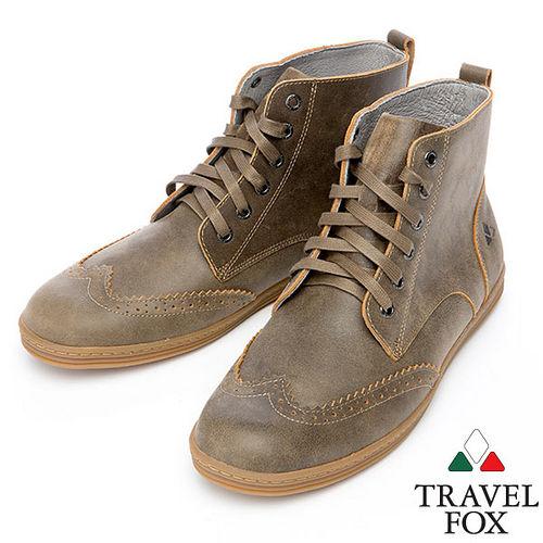 Travel Fox STYLE~牛津高筒靴914612^(淺咖啡~08^)