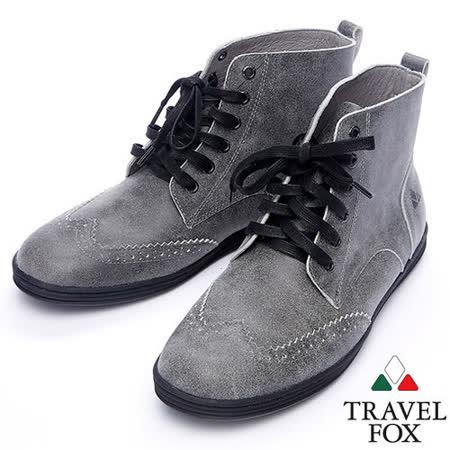 Travel Fox STYLE-牛津高筒靴914612(灰-13)