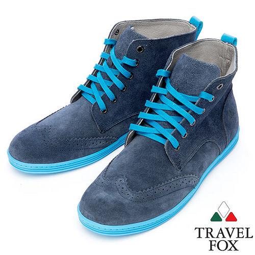 Travel Fox STYLE~牛津反毛皮高筒靴914613^(藍~05^)