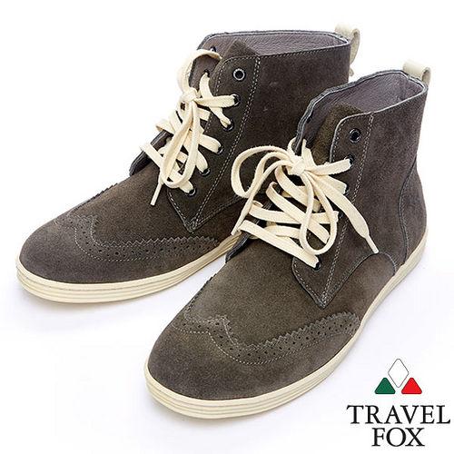 Travel Fox STYLE~牛津反毛皮高筒靴914613^(灰~13^)