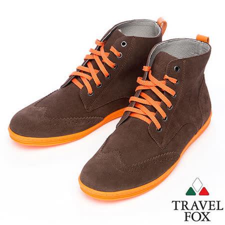 Travel Fox STYLE-牛津反毛皮高筒靴914613(深咖啡-76)