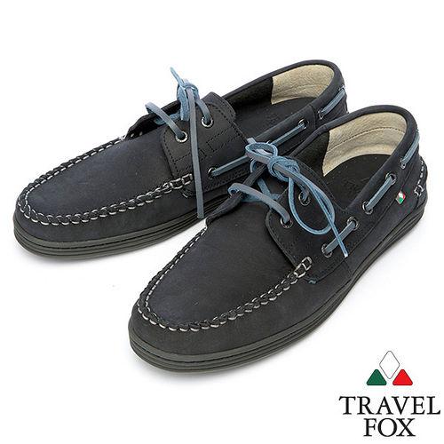 Travel Fox STYLE~麂皮帆船鞋914614^(黑~01^)