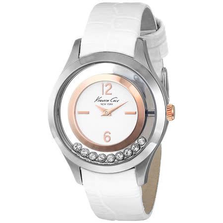 Kenneth Cole 和緩旋律氣質皮帶腕錶-銀框白