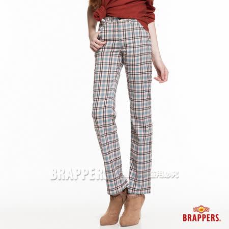 【BRAPPERS】女款 女用彈性大格子直統褲-水藍格紋