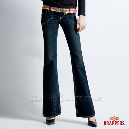 【BRAPPERS】女款 垮褲系列-女用大喇叭褲-深藍
