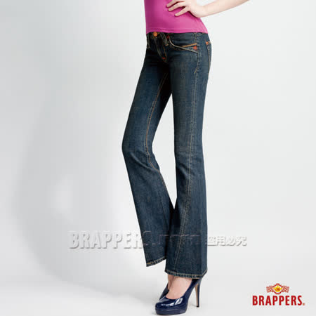 【BRAPPERS】女款 女垮褲系列-女用小喇叭褲-藍